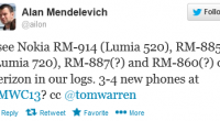 I see Nokia RM-914 (Lumia 520), RM-885 (Lumia 720), RM-887(?) and RM-860(?) on Verizon in our logs. 3-4 new phones […]